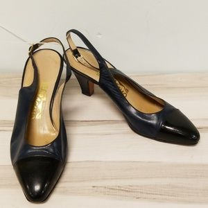 Salvatore Ferragamo Navy Leather Open Back Heels